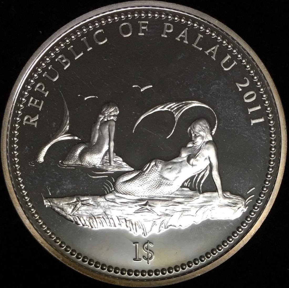 2011 $1 Republic of Palau Silver ANEMONEFISH Marina