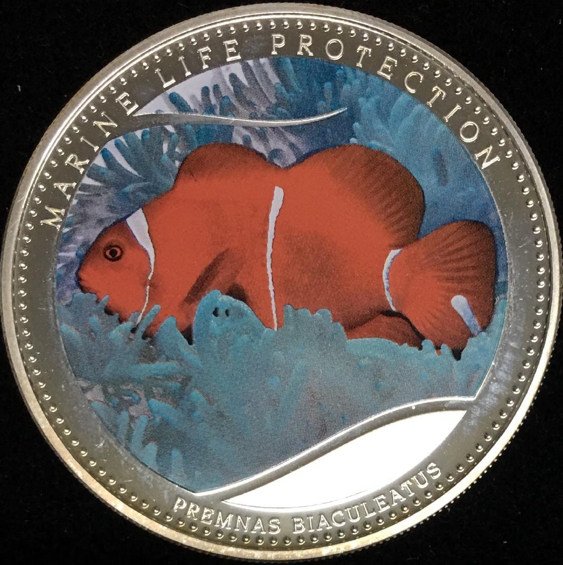 2011 $1 Republic of Palau Silver ANEMONEFISH Marina - 2