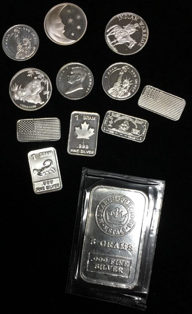 11 -1 gram & 1 - 5 gram .999 Fine Silver Rounds and