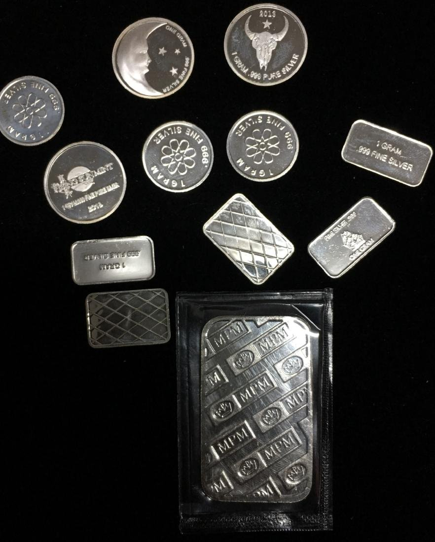 11 -1 gram & 1 - 5 gram .999 Fine Silver Rounds and - 2