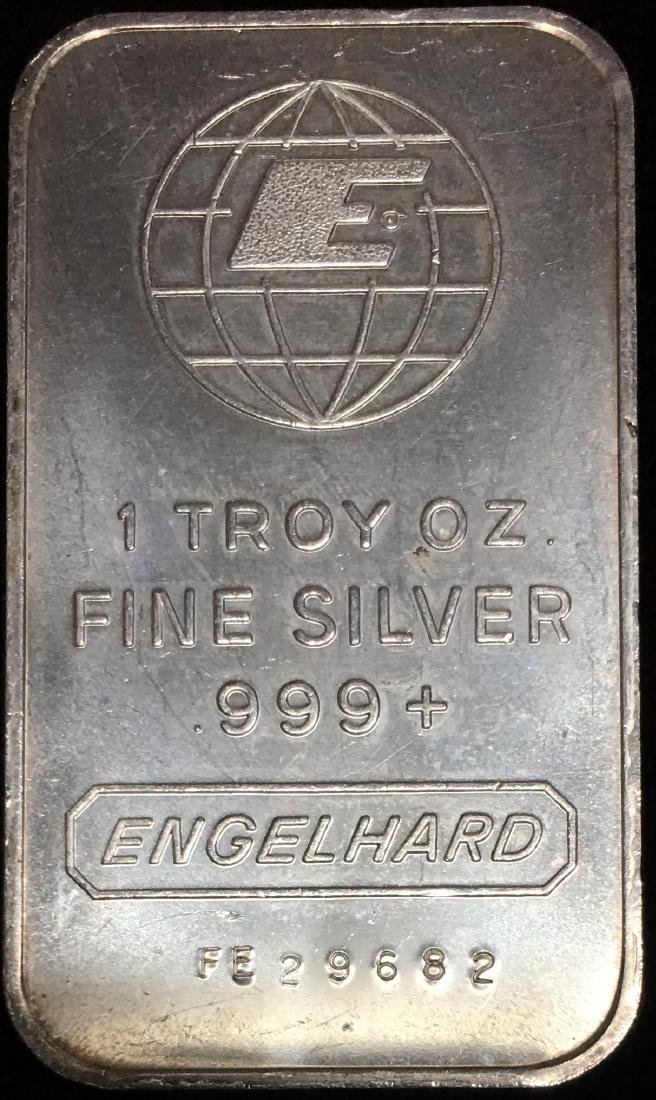 "Engelhard 1 tr oz .999 Fine Silver Bar - ""E"" Design"