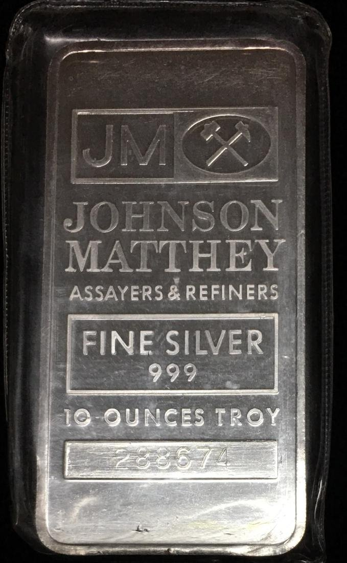 Vintage 10oz .999 Fine Silver Bar Johnson Matthey - JM
