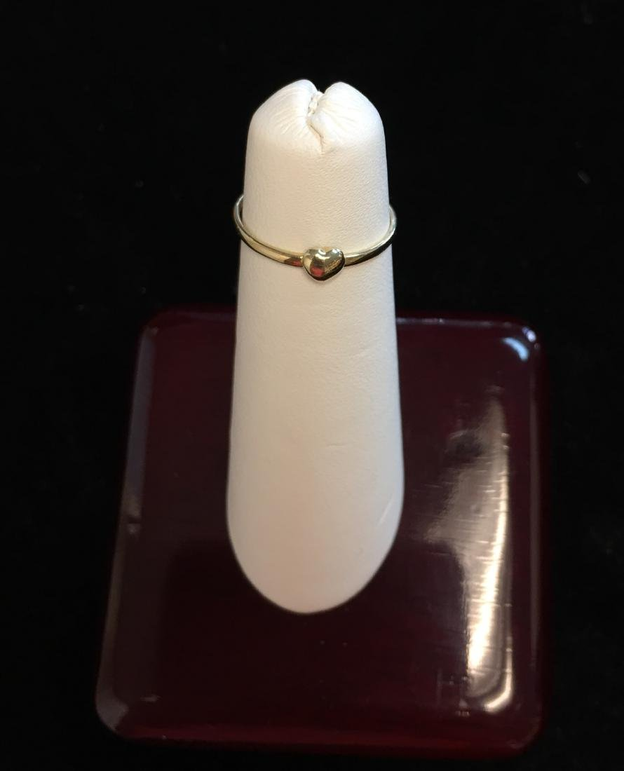 14 Kt Yellow Gold Ring w/Heart  .4 dwt Size 4 - 3