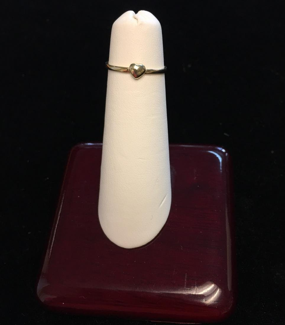 14 Kt Yellow Gold Ring w/Heart  .4 dwt Size 4 - 4