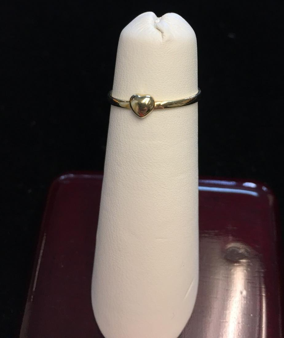14 Kt Yellow Gold Ring w/Heart  .4 dwt Size 4 - 5