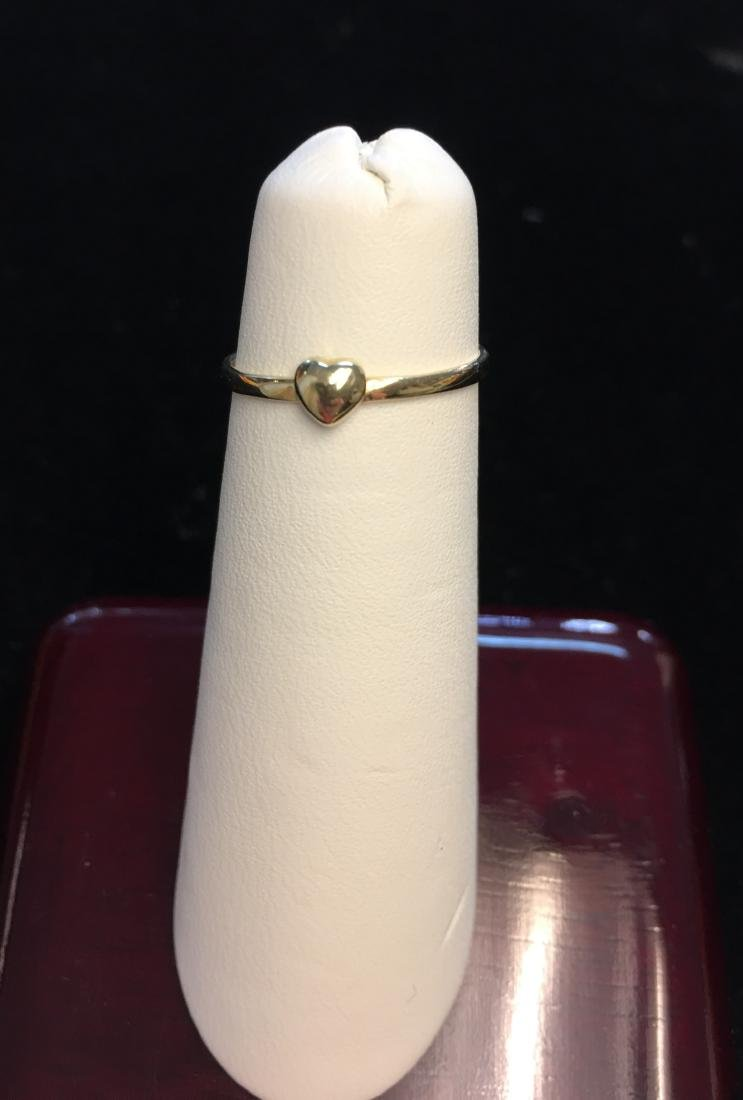 14 Kt Yellow Gold Ring w/Heart  .4 dwt Size 4 - 6