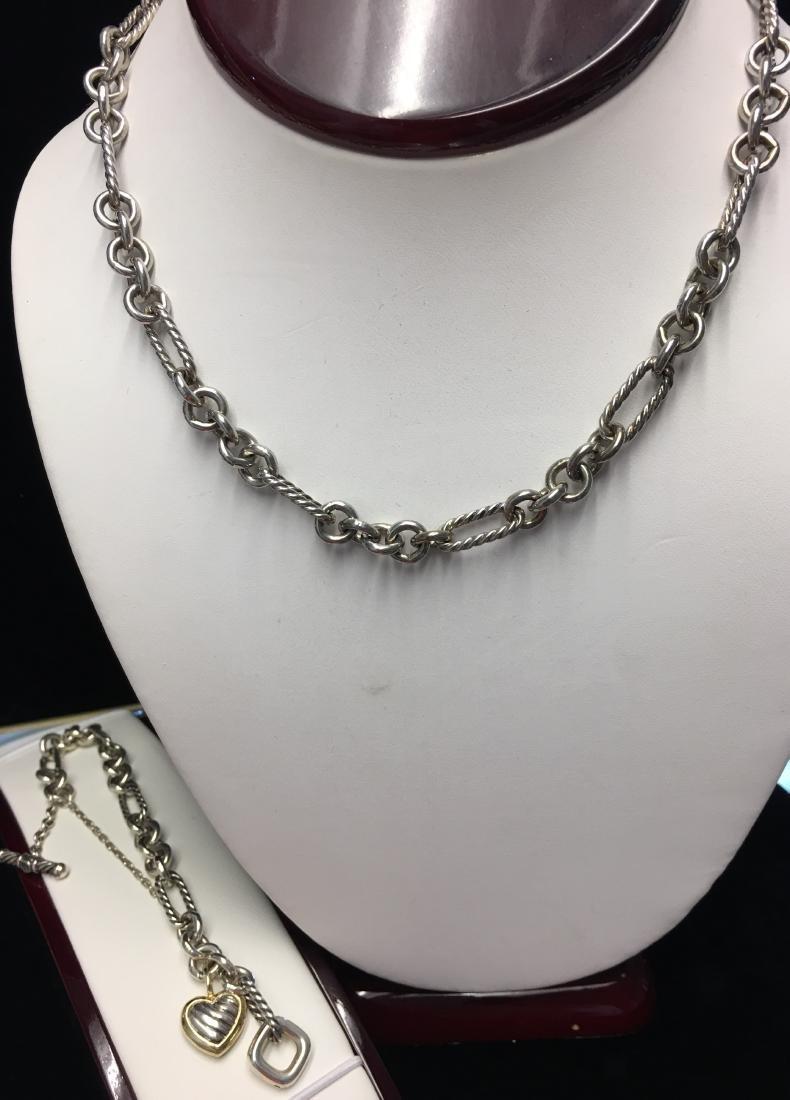 18 Kt & Sterling Lady's Necklace & Bracelet Signed by
