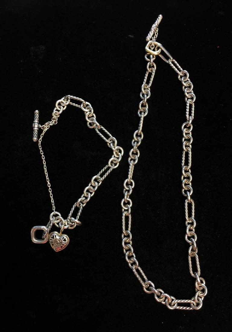 18 Kt & Sterling Lady's Necklace & Bracelet Signed by - 3