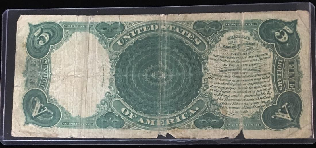 1907 $5 Legal Tender Wood Chopper Red Seal Parker/Burke - 2