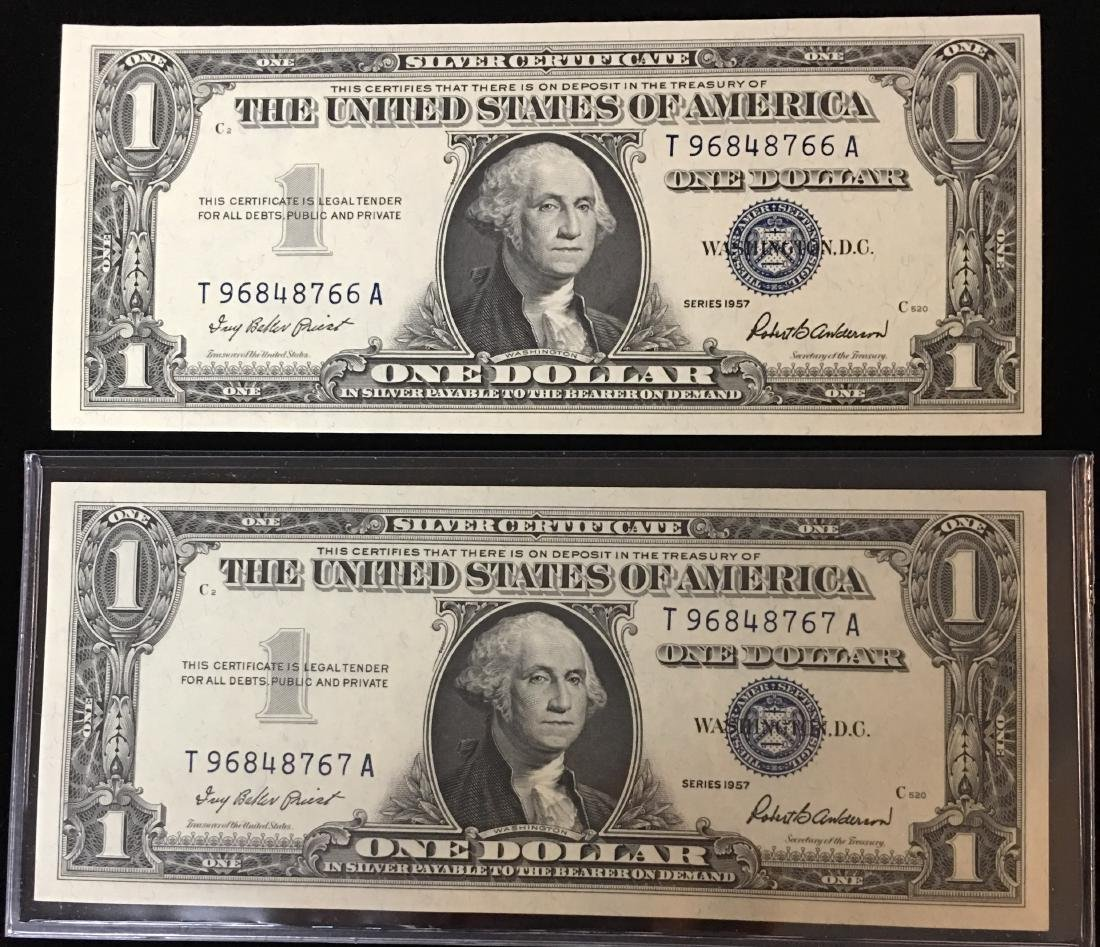 Pair of 1957 $1 Silver Certificates Consecutive
