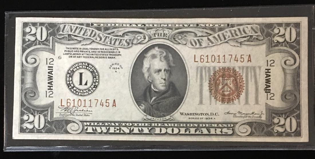 1934A $20 Hawaii Emergency Note Red Seal Uncirculated