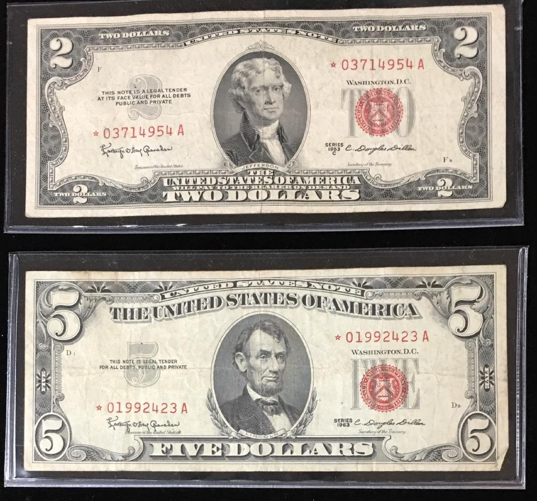 Set of 2 Legal Tenders $2 and $5 Star Notes Red Seal