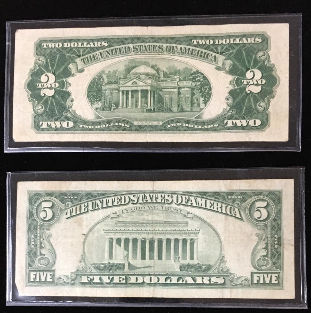 Set of 2 Legal Tenders $2 and $5 Star Notes Red Seal - 2