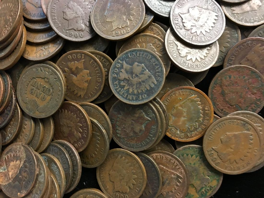 Lot of 100 Mixed 1900's Indian Head Cents