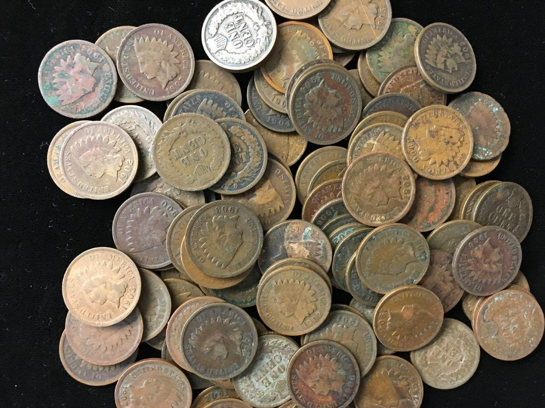 Lot of 100 Mixed 1900's Indian Head Cents - 2