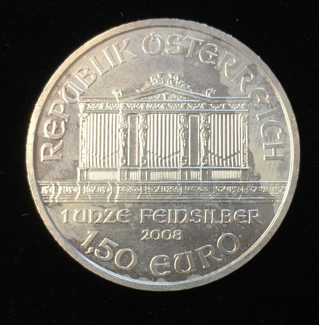 2008 1,50 Euro Austria 1 oz Silver Philharmonic BU - 2