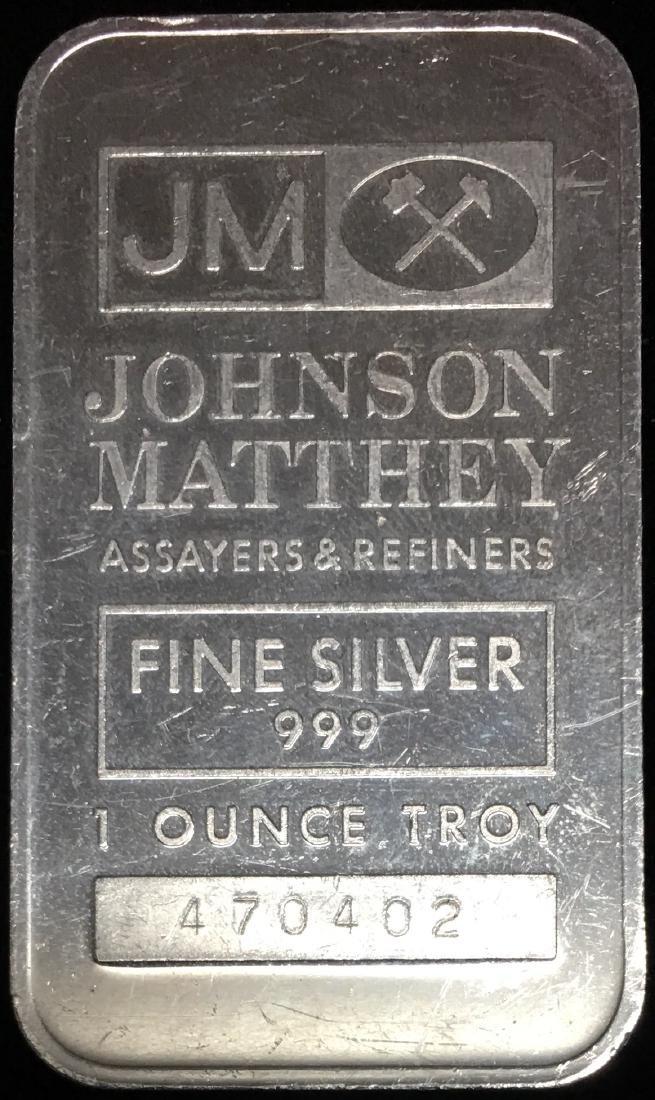 1 tr. oz .999 Fine Silver Art Bar Johnson Matthey