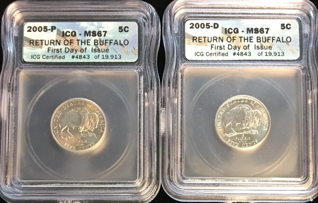 Set of 2: 2005-PD Buffalo Nickels First Day of Issue