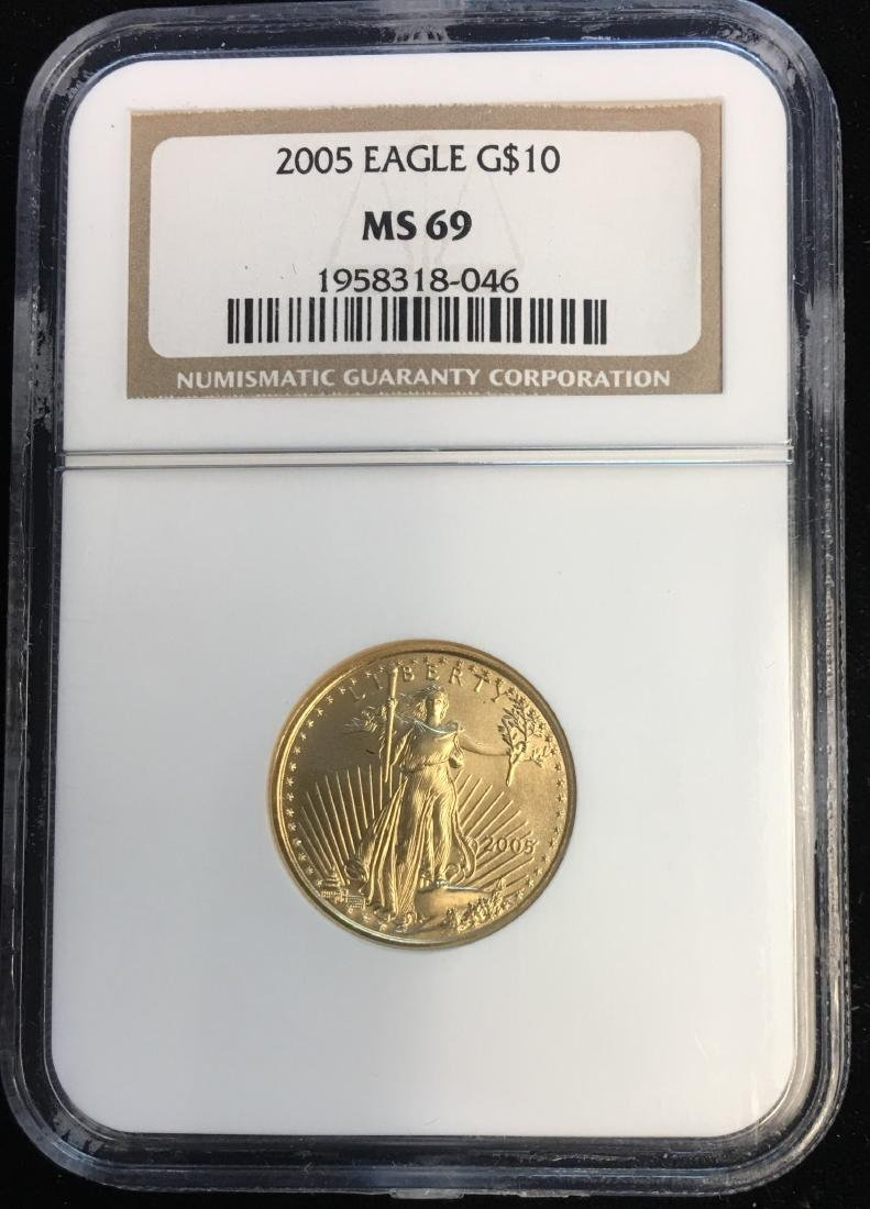 2005 $10 American Gold Eagle 1/4 oz NGC MS69