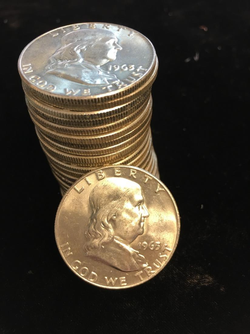 1963-D Roll of 20 Franklin Silver Half Dollars BU