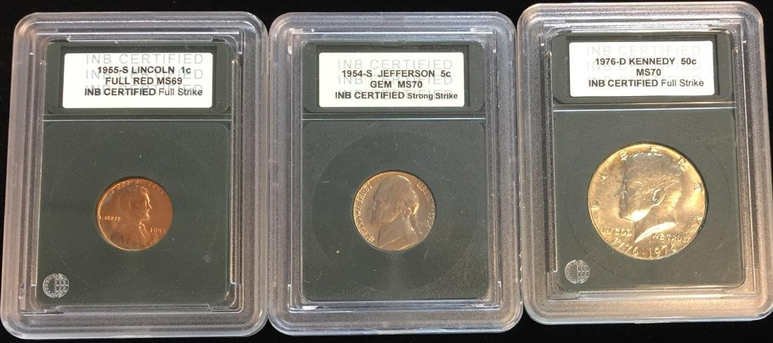 Set of 3 INB Certified Coins - 1955 Lincoln Cent;