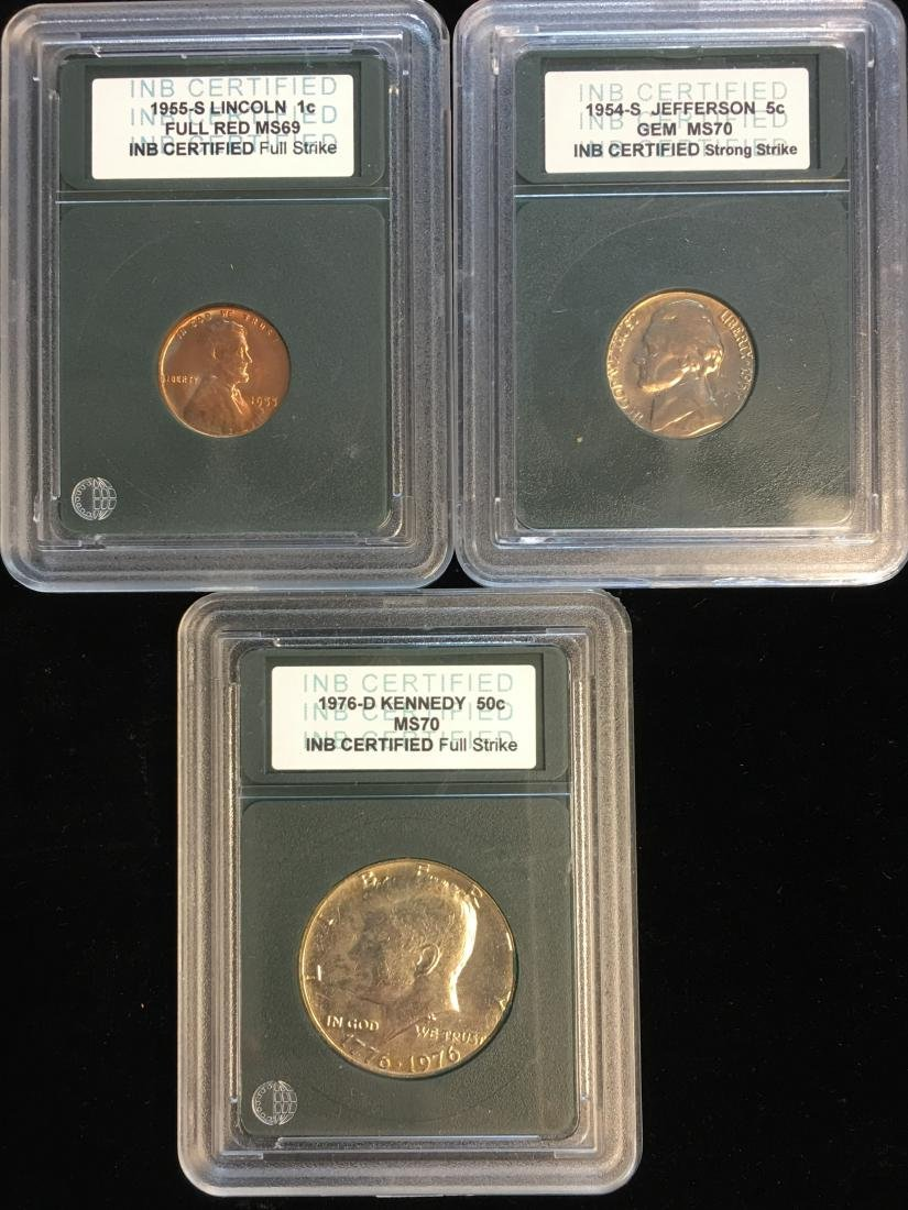 Set of 3 INB Certified Coins - 1955 Lincoln Cent; - 2