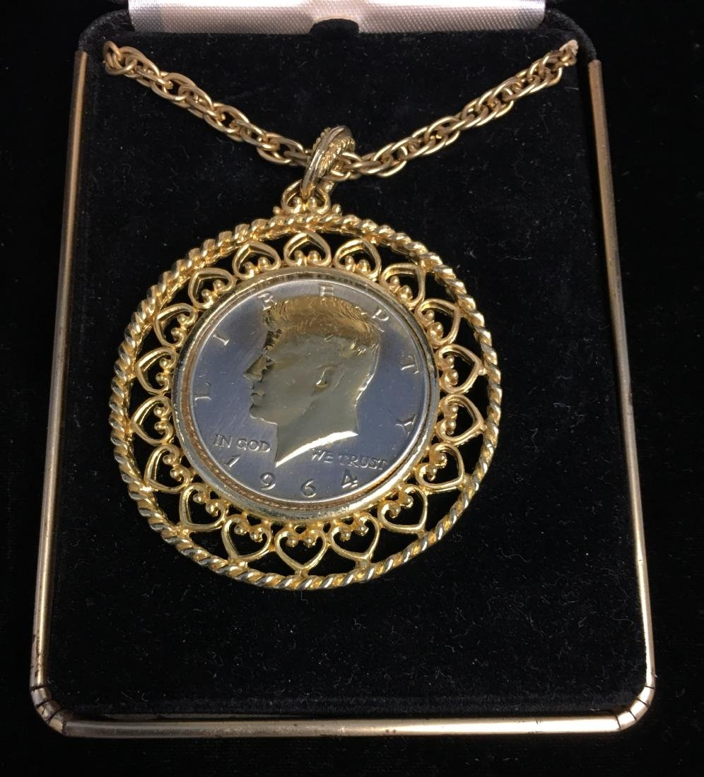 1964 Kennedy Half Dollar Necklace Gold Plated