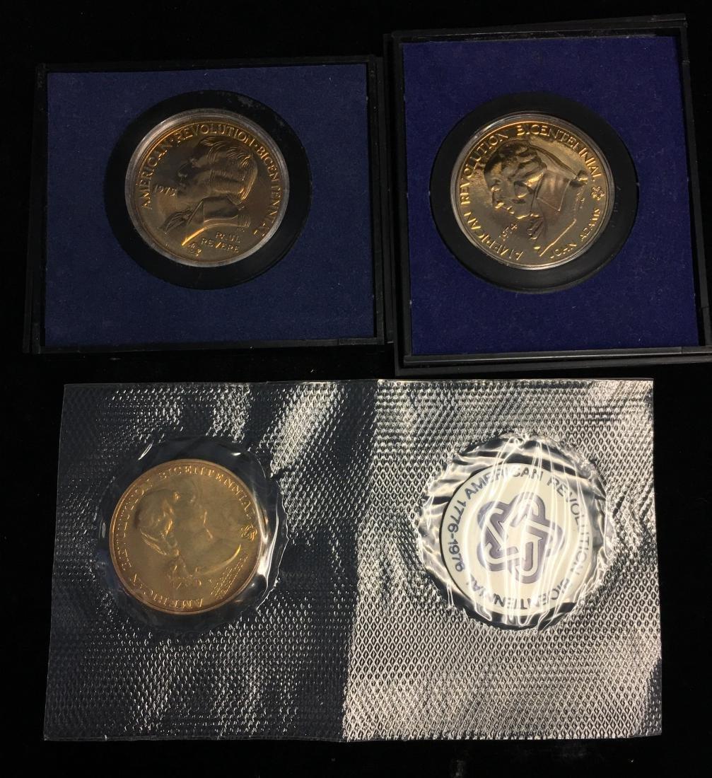 Set of 3 American Revolution Bicentennial Medals: 1974 - 2