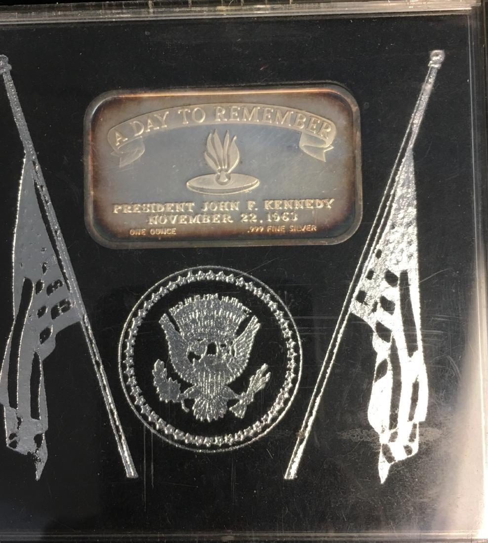 1 oz .999 Fine Silver Art Bar in Memory of J. Kennedy