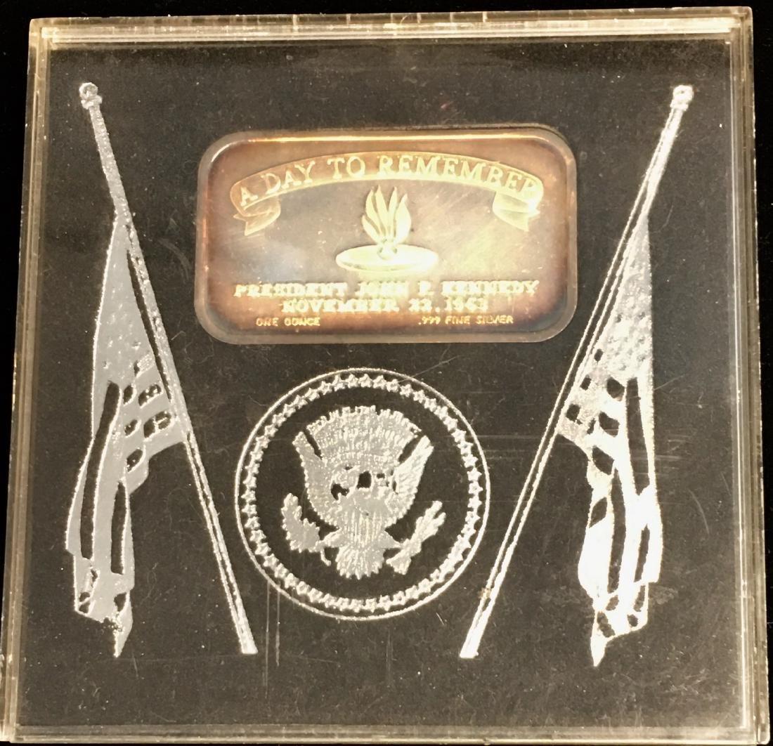 1 oz .999 Fine Silver Art Bar in Memory of J. Kennedy - 3