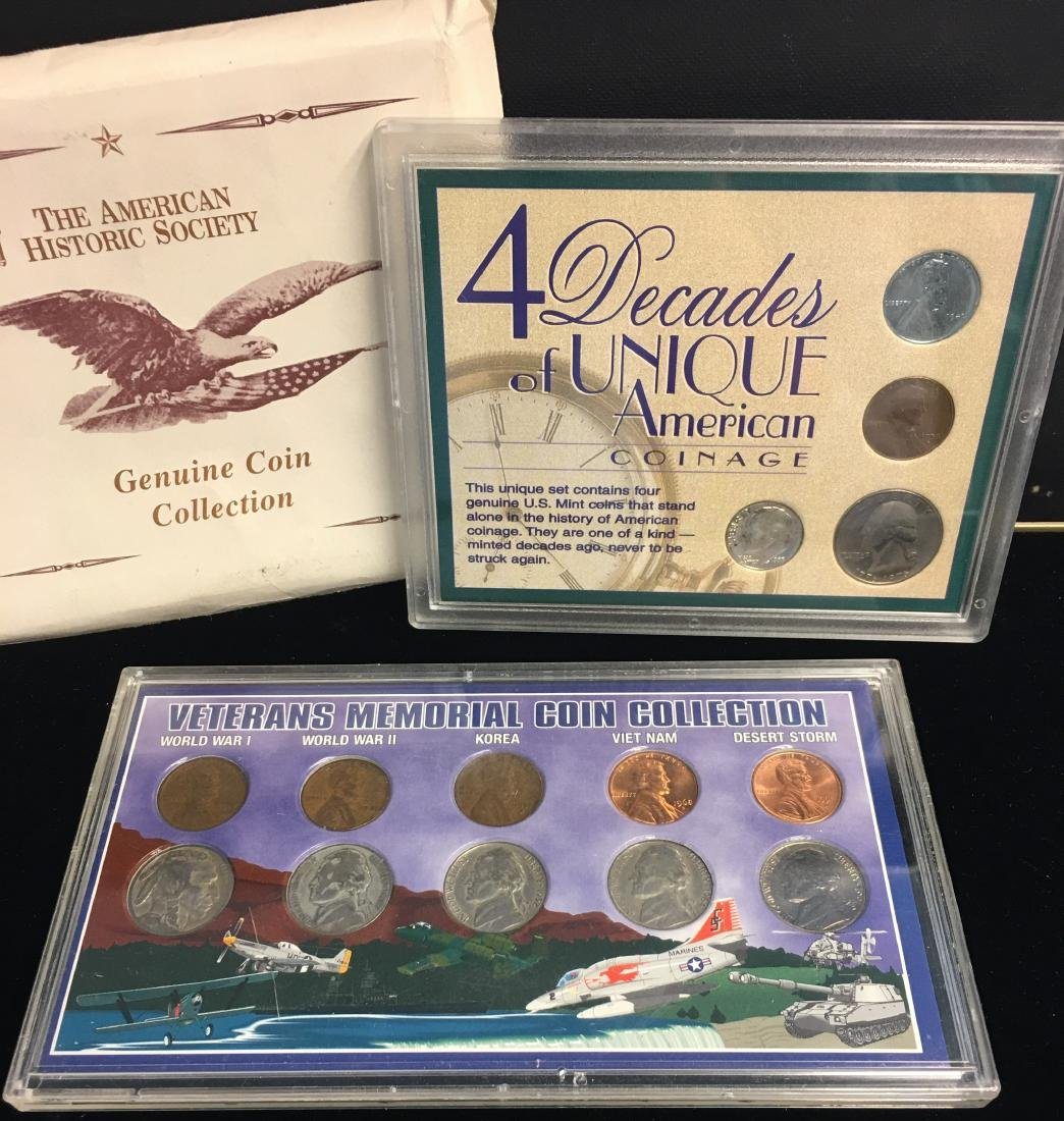 Set of 2 Lots: Veterans Memorial Coin Collection & 4