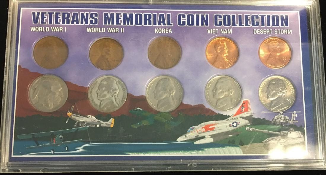 Set of 2 Lots: Veterans Memorial Coin Collection & 4 - 2