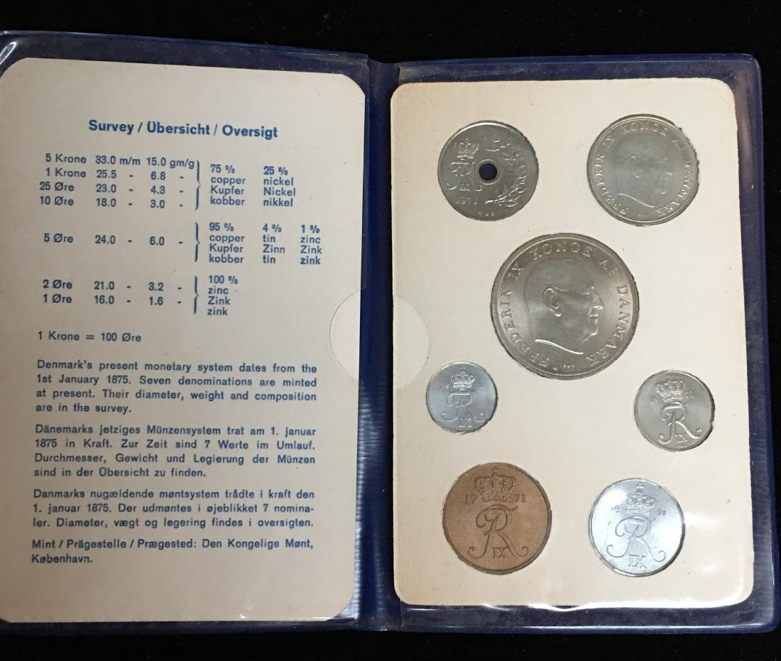 1971 Denmark Set of 7 coins (Danish Coins) Uncirculated