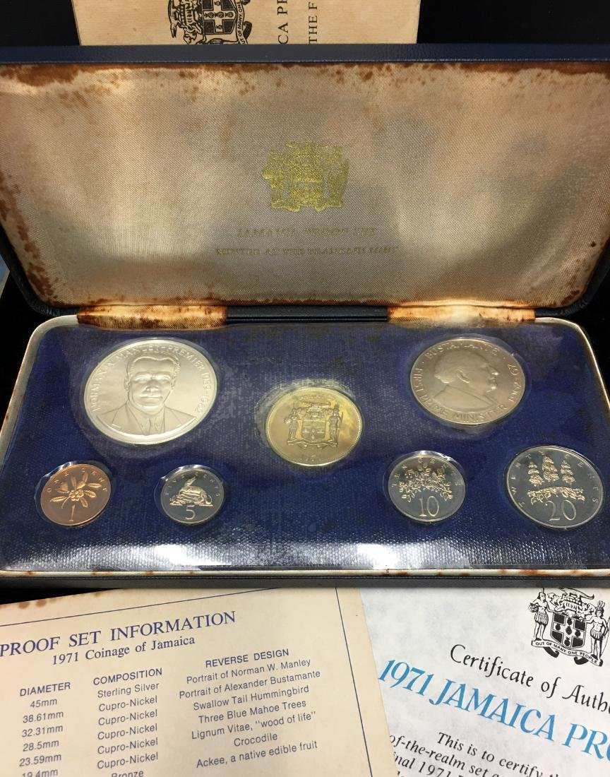 1971 Jamaica 7 coins Proof Set with Sterling Silver $5