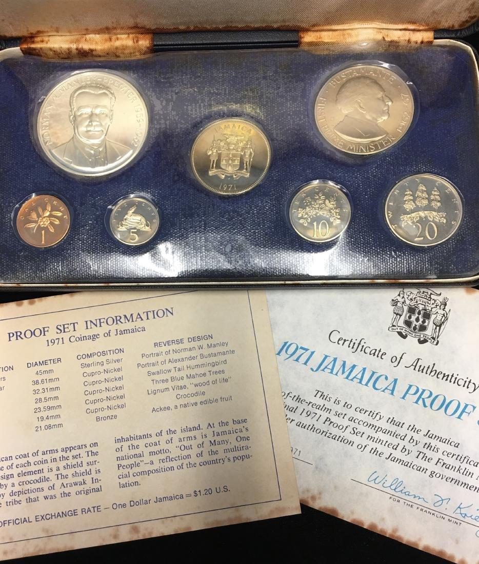 1971 Jamaica 7 coins Proof Set with Sterling Silver $5 - 2