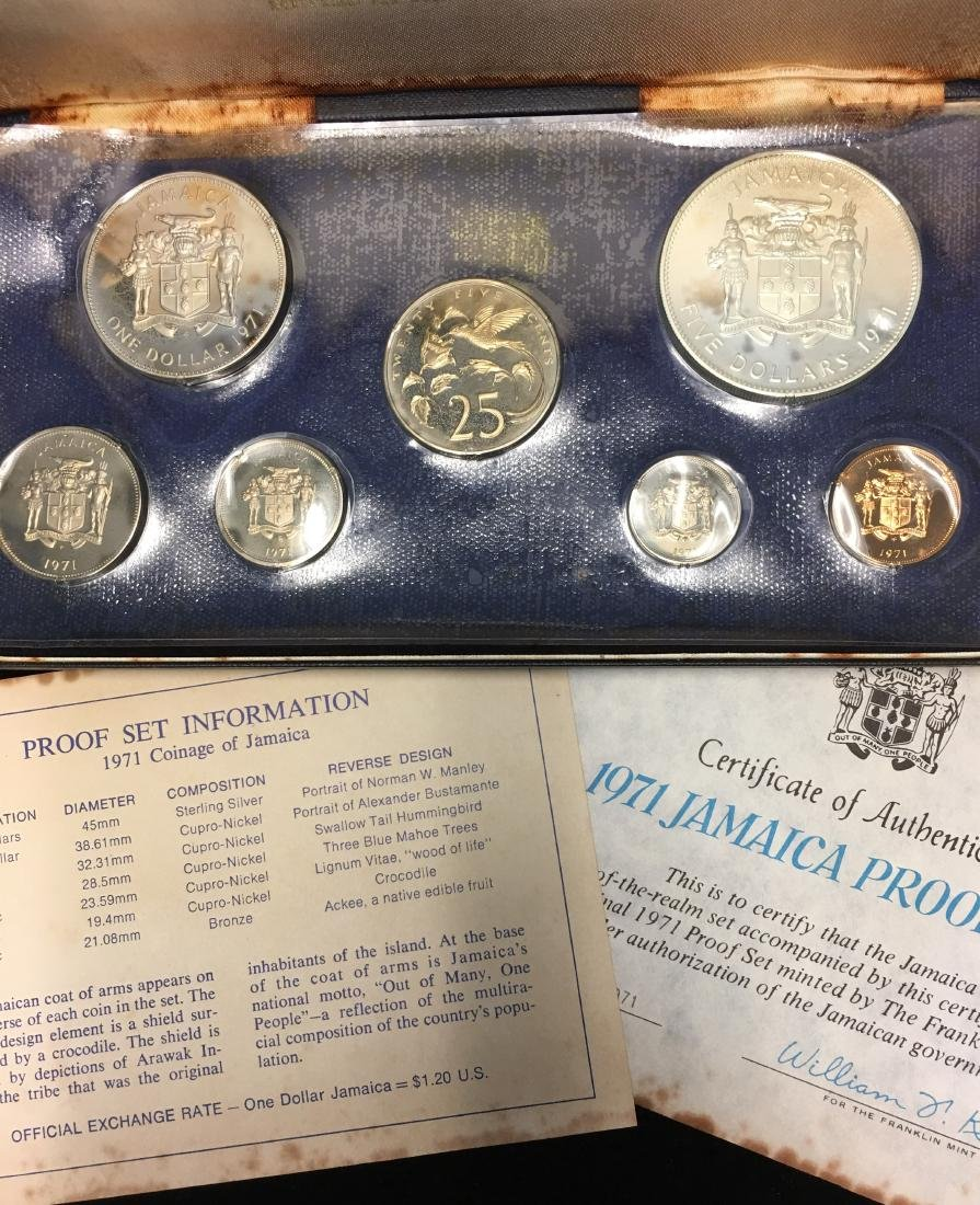 1971 Jamaica 7 coins Proof Set with Sterling Silver $5 - 3