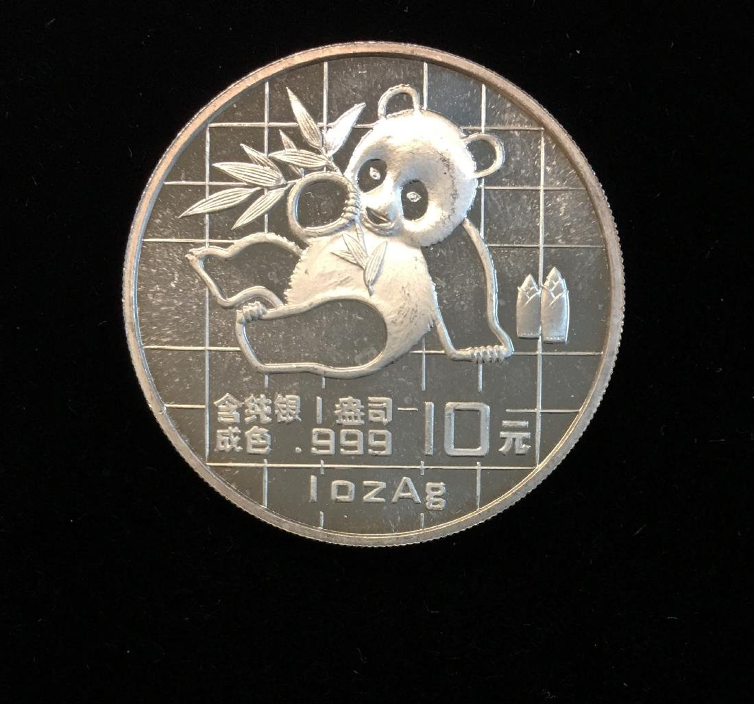 1989 10 Yn China Panda 1oz .999 Silver Uncirculated - 2