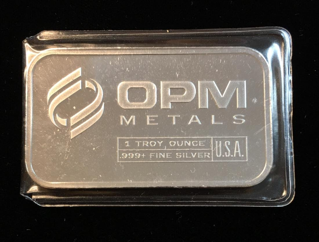 1 tr oz .999+ Fine Silver Bar OPM Metals USA Proof