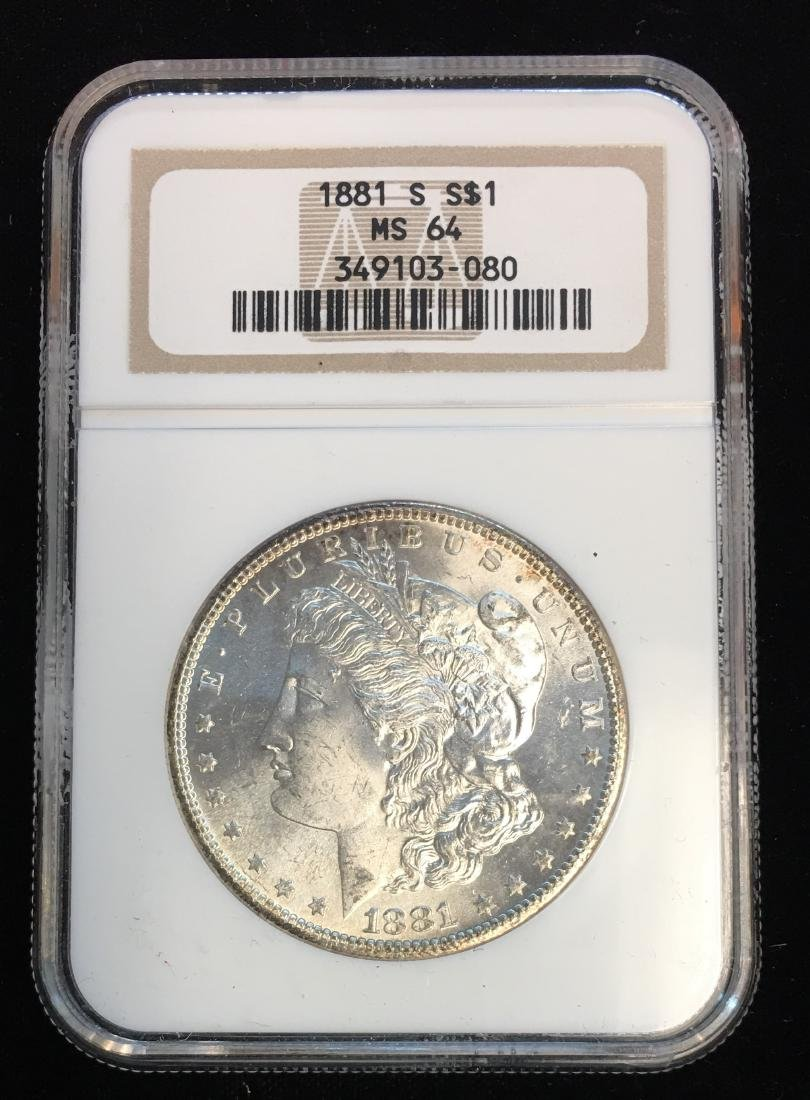 1881-S $1 Morgan Silver Dollar NGC MS64 Slightly Toned