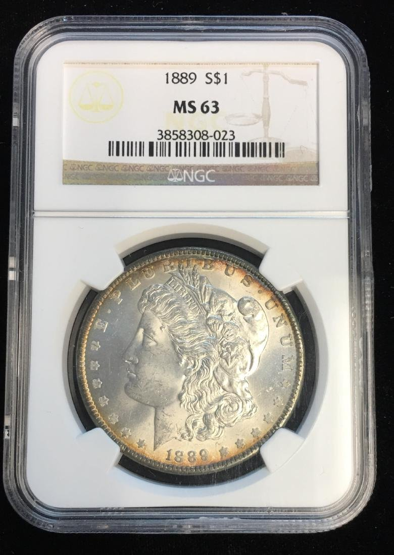 1889-P $1 Morgan Silver Dollar NGC MS63 Edge Toning