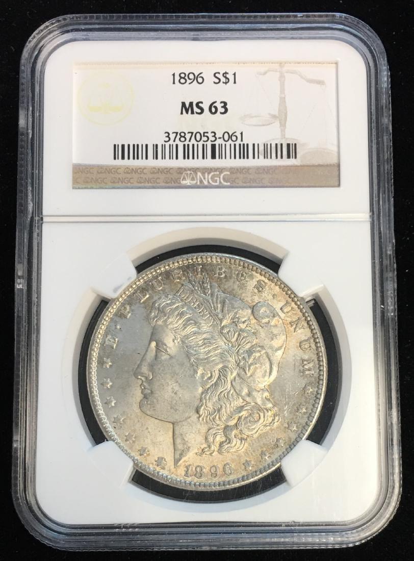 1896 $1 Morgan Silver Dollar NGC MS63 Beautiful Toning