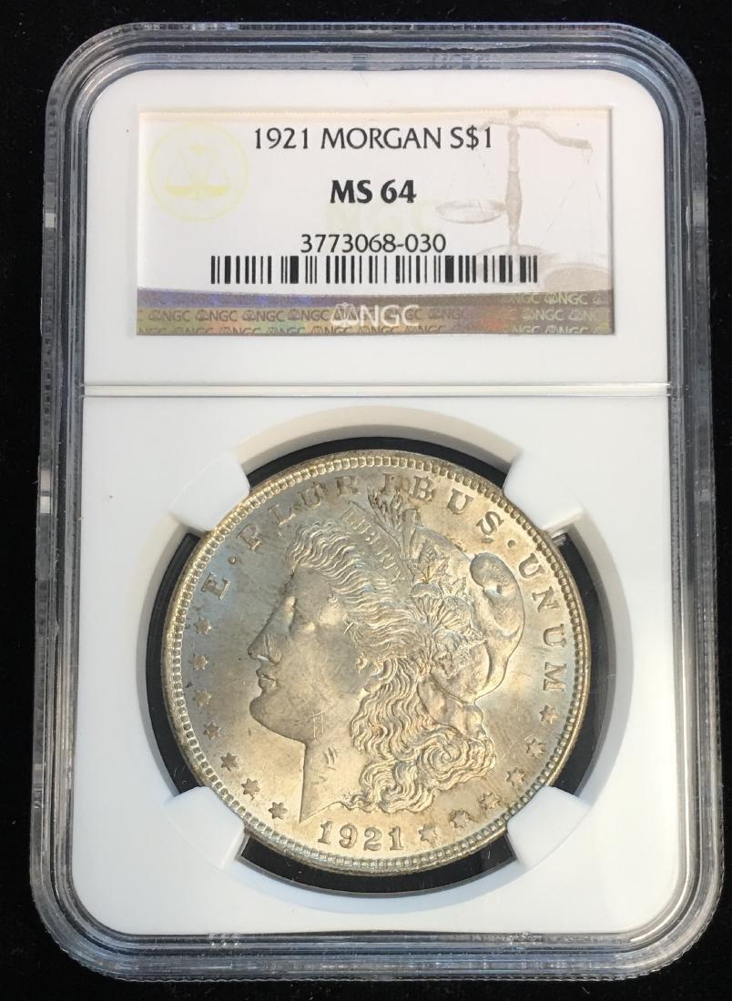 1921-P $1 Morgan Silver Dollar NGC MS64