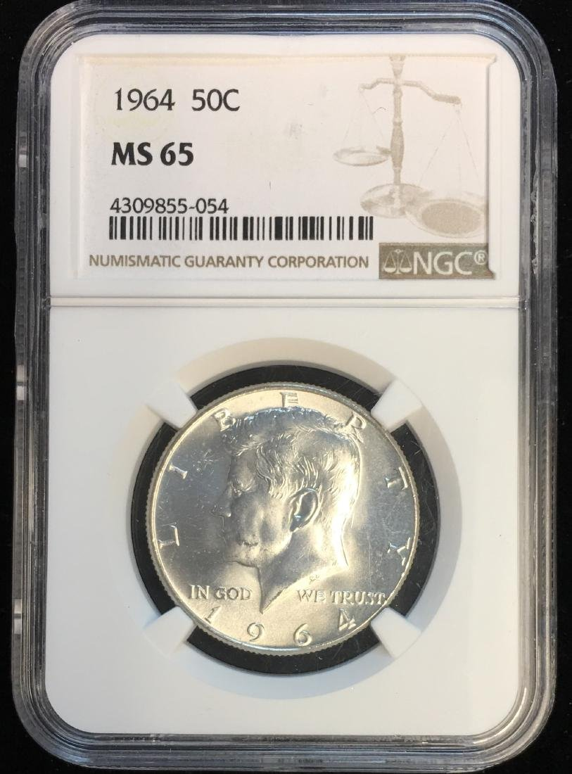 1964-P 50C Silver Kennedy Half Dollar NGC MS65