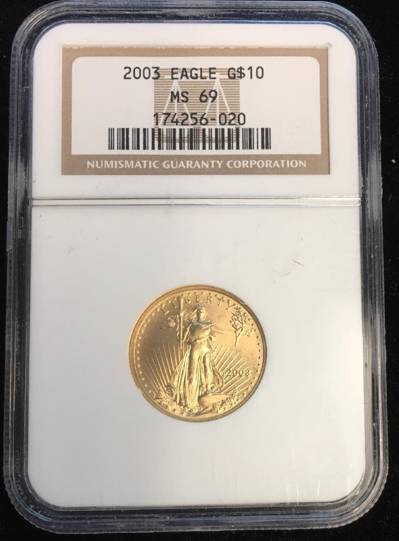 2003 $10 American Gold Eagle 1/4 oz Fine Gold NGC MS69