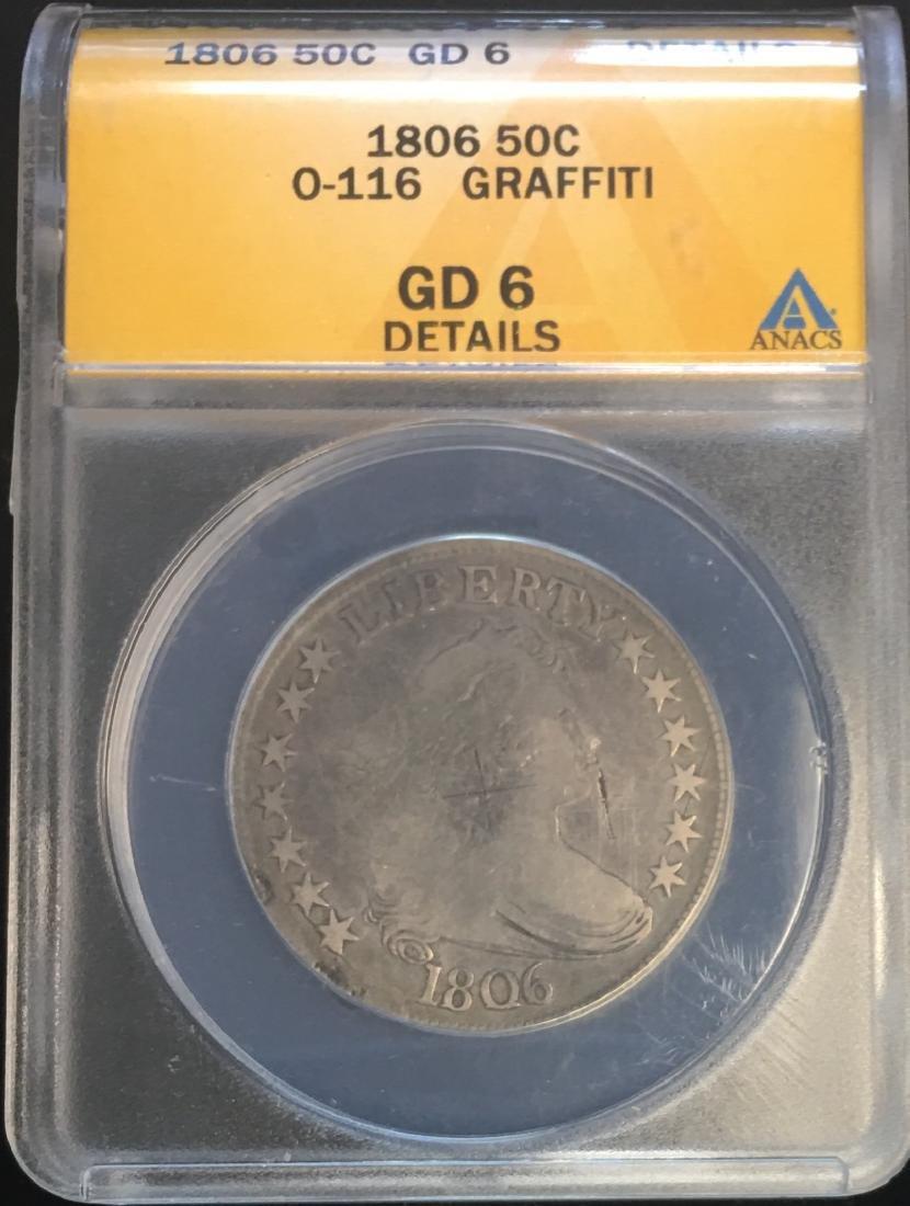 1806 50C Draped Bust Silver Half Dollar ANACS  GD6