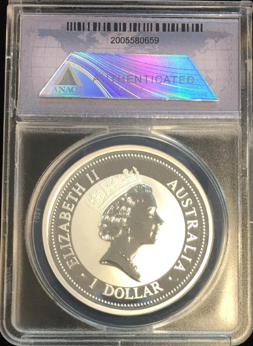 1995 $1 Australia Kookaburra 1 oz .999 ANACS MS70 DCAM - 2
