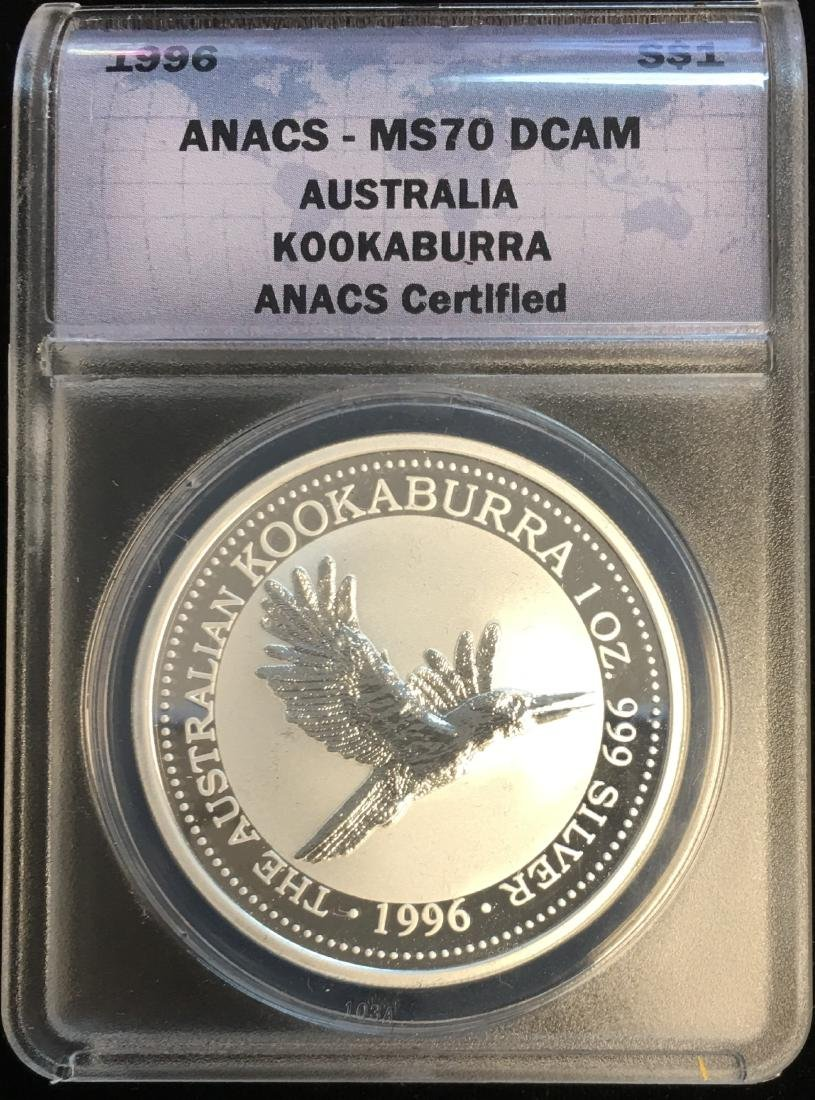 1996 $1 Australia Kookaburra 1 oz .999 ANACS MS70 DCAM