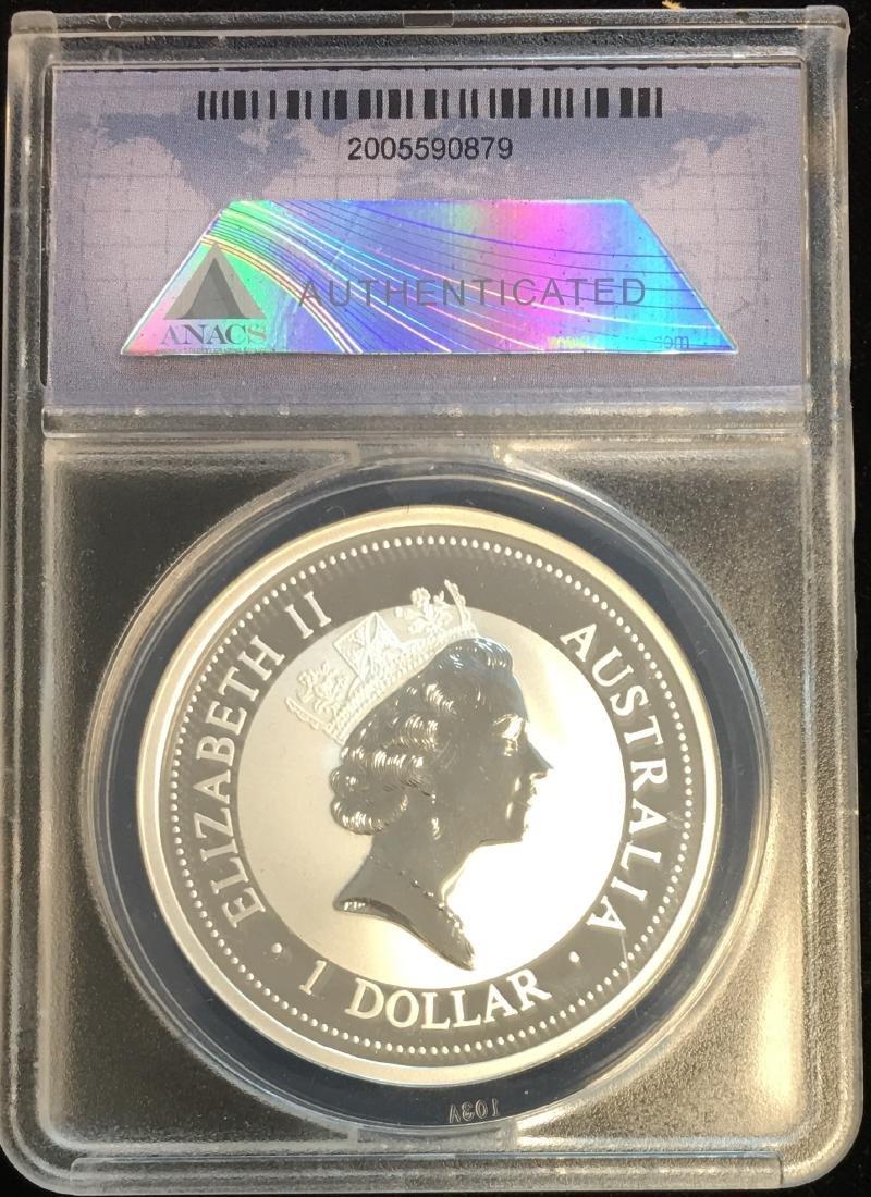 1996 $1 Australia Kookaburra 1 oz .999 ANACS MS70 DCAM - 2