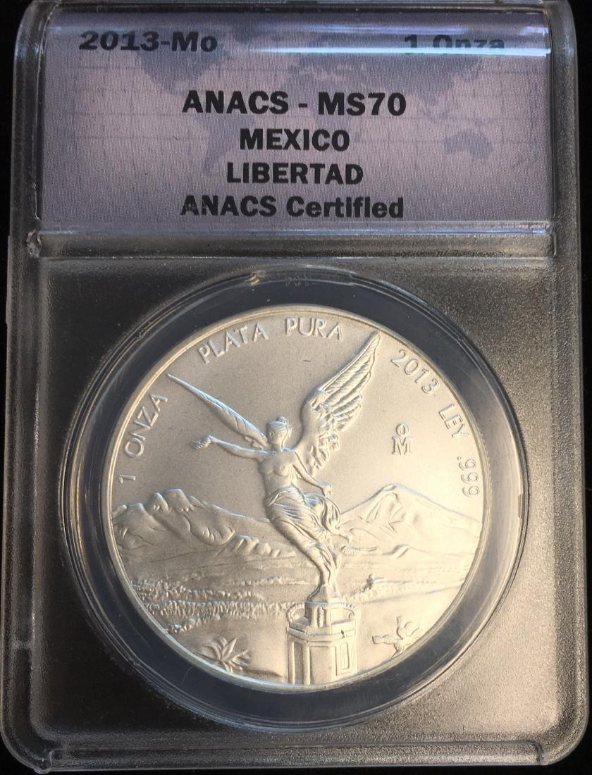 2013-Mo Mexico Libertad 1 oz .999 Silver ANACS MS70