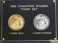 1988 Singapore Dragon Proof Set  100 Singold 1 oz